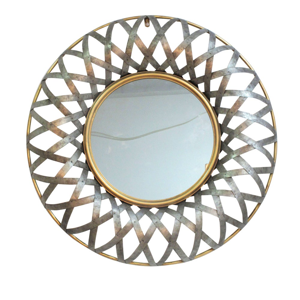 Metal 29.5-inch x 3-inch Geometric Design Wall Mirror - Antique Gold - A