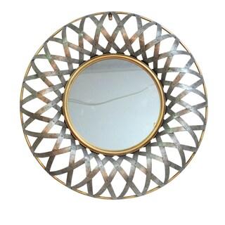 Metal 29.5-inch x 3-inch Geometric Design Wall Mirror - Antique Gold - A
