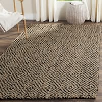 Safavieh Handmade Natural Fiber Diamond Geo Natural/ Black Jute Rug - 11' X 15'