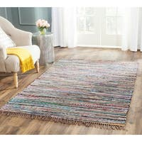 Safavieh Rag Rug Transitional Stripe Hand-Woven Cotton Rust/ Multi Area Rug - 11' x 15'