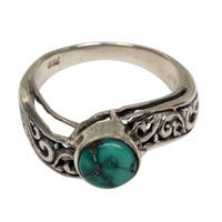 Handmade Sterling Silver 'Bali Vines' Turquoise Ring (Indonesia)