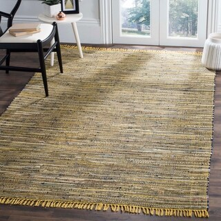 Safavieh Rag Rug Transitional Stripe Hand-Woven Cotton Yellow/ Multi Area Rug - 11' x 15'