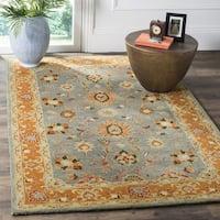 Safavieh Heritage Traditional Oriental Hand-Tufted Wool Blue/ Orange Area Rug - 8' Square