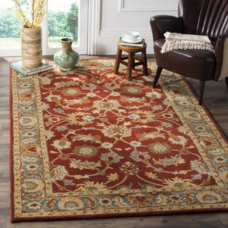 Safavieh Heritage Traditional Oriental Hand-Tufted Wool Red/ Blue Area Rug (8' Square)