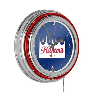 Hamm's Chrome Double Rung Neon Clock