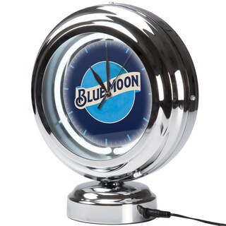 Blue Moon Chrome Retro Style Tabletop Neon Clock
