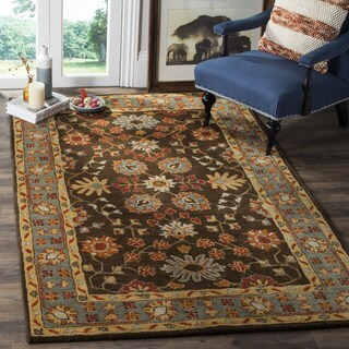 Safavieh Heritage Traditional Oriental Hand-Tufted Wool Charcoal/ Blue Area Rug (8' Square)