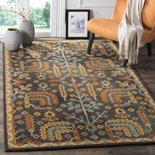 Safavieh Heritage Traditional Oriental Hand-Tufted Wool Charcoal/ Multi Area Rug (8' Square)