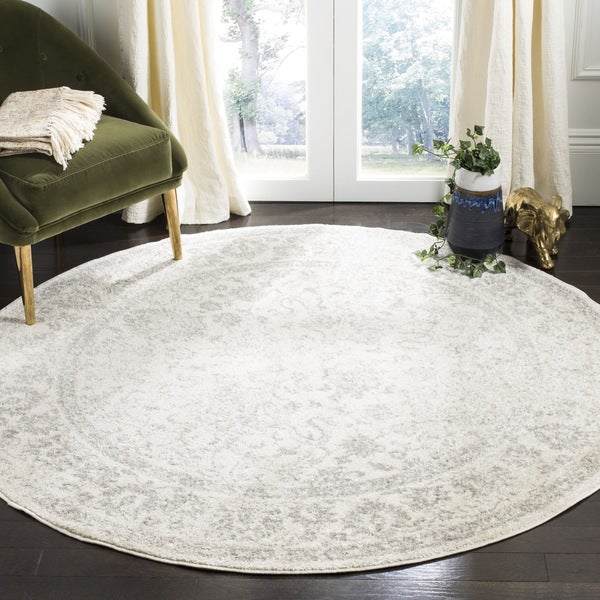Safavieh adirondack contemporary oriental ivory silver for Modern round area rugs