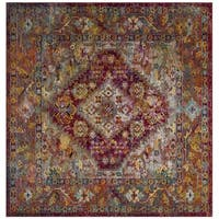 Safavieh Crystal Contemporary Oriental Light Blue/ Fuchsia Area Rug - 7' Square