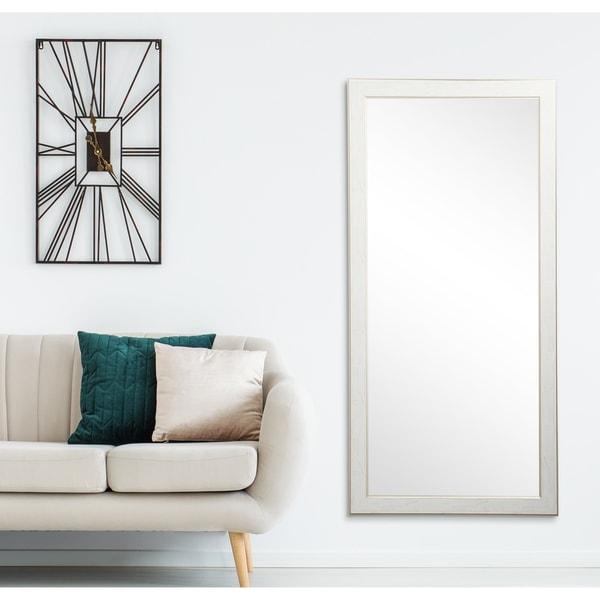 White Cracked Gold 32 x 65.5 - Inch Floor Mirror - Antique White - 32 x 65.5