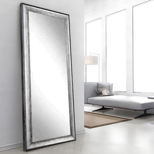 Kingston Silver 33.5 x 67 - Inch Floor Mirror - Silver/Black - Free ...