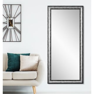 Kingston Silver 33.5 x 67 - Inch Floor Mirror - Silver/Black