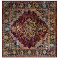 Safavieh Crystal Contemporary Oriental Ruby/ Navy Area Rug (7' Square)