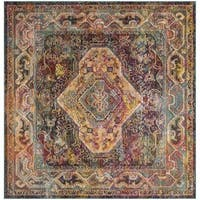 Safavieh Crystal Contemporary Oriental Teal/ Rose Area Rug - 7' Square