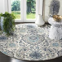 Safavieh Madison Paisley Boho Glam Cream/ Light Grey Rug - 5' x 5' round
