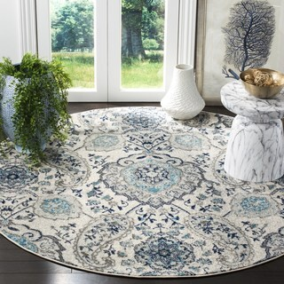 Safavieh Madison Contemporary Paisley Cream/ Light Grey Area Rug (5' Round)