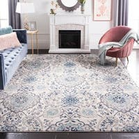 Safavieh Madison Belle Paisley Boho Glam Cream/ Light Grey Rug - 5' x 5' Square