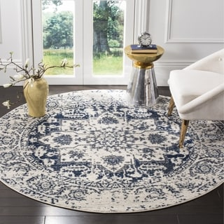 Safavieh Madison Contemporary Oriental Cream/ Navy Area Rug (5' Round)