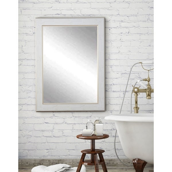 Multi Size White Cracked Gold Wall Mirror - aged white/gold