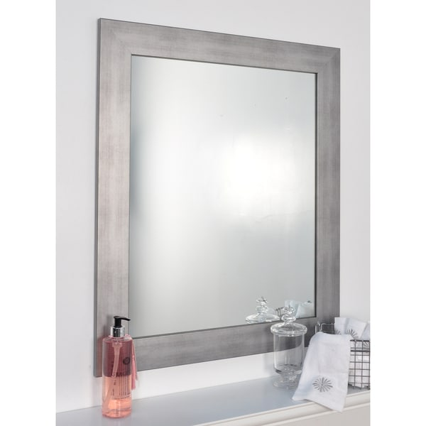Shop Silvertone Brushed Nickel Wall Mirror Silver Free Shipping