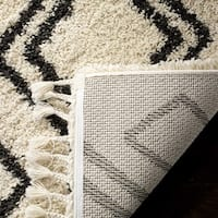 Safavieh Moroccan Fringe Shag Moroccan Geometric Cream/ Charcoal Area Rug - 6'7 Square
