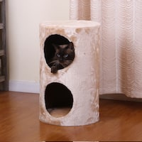 PetPals Purr Beige Two Level Round Cat Condo