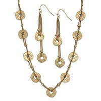 "Hammered Coin Double Strand 2-Piece Drop Earrings and Necklace Set 18k Yellow Gold-Plated 34""-37"" Tailored"