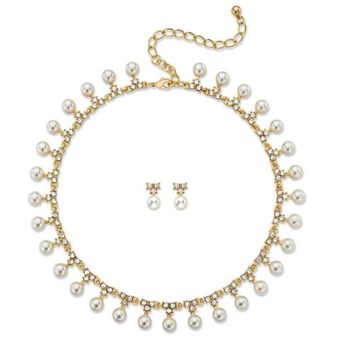 "Simulated Pearl and Crystal 2-Piece Necklace and Stud Earrings Gold Tone Set 15""-19"" Naturalist"