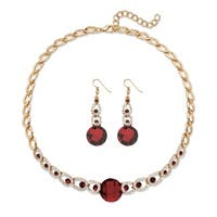 Birthstone Crystal 2-Piece Halo Drop Earrings and Necklace Set Round Checkerboard-Cut in Gold Tone 1 Color Fun