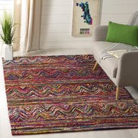 Safavieh Nantucket Traditional Geometric Hand-Tufted Cotton Multi Area Rug - 6' Square