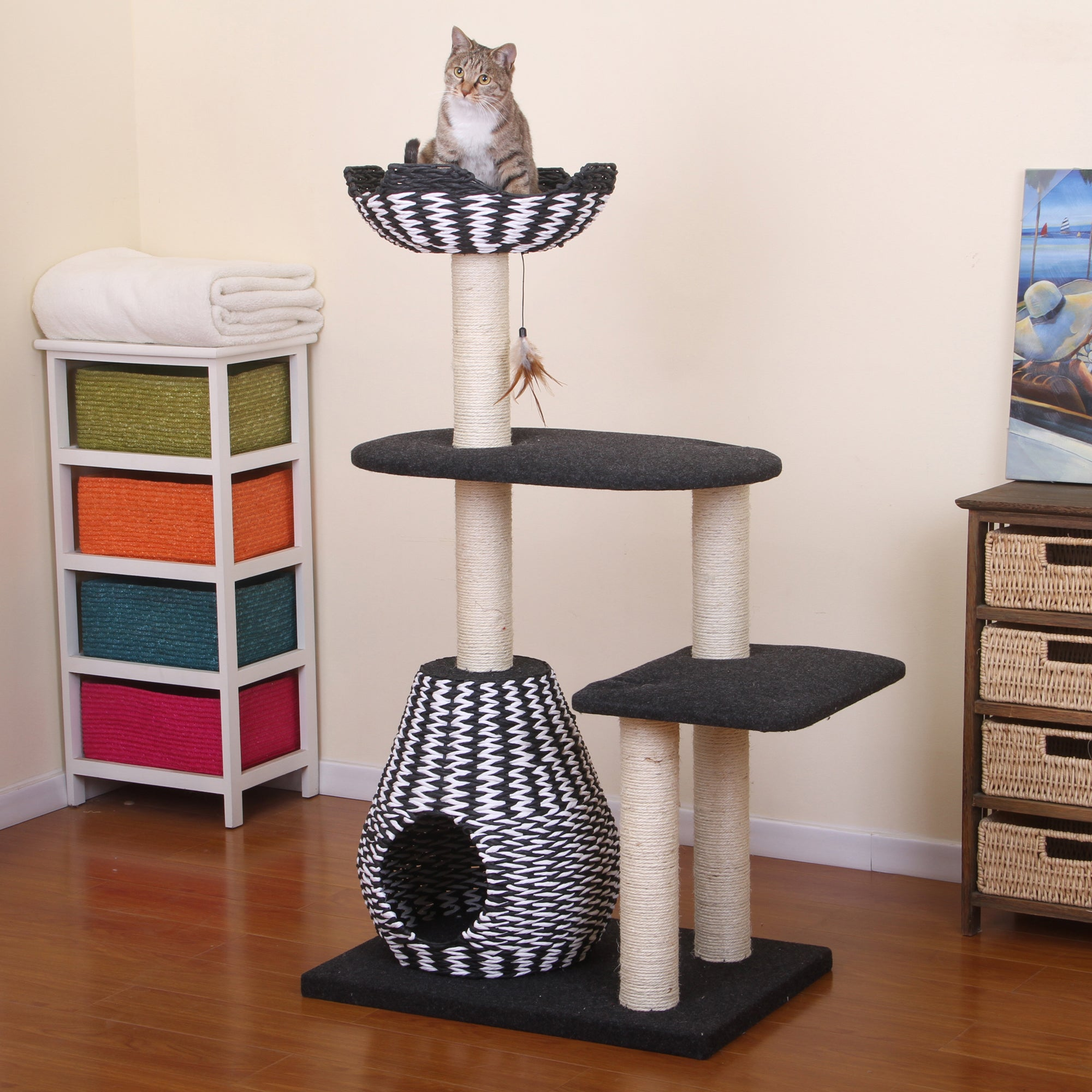 PetPals Ace Black and White Contemporay Cat Bed Tower (PP...