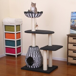 PetPals Ace Black and White Contemporay Cat Bed Tower