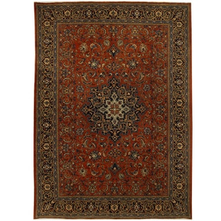 Herat Oriental Persian Hand-knotted Tribal Mahal Wool Rug (8'10 x 12'4)