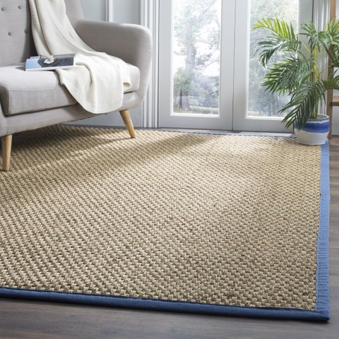 Safavieh Natural Fiber Marina Natural/ Navy Blue Seagrass Rug - 6' x 6' Square