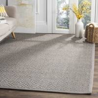 Safavieh Natural Fiber Contemporary Geometric Jute Light Grey/ Grey Area Rug - 6' X 6' Square