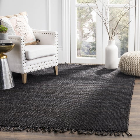 Safavieh Natural Fiber Coastal Hand-woven Jute Black Area Rug - 6' x 6' Square