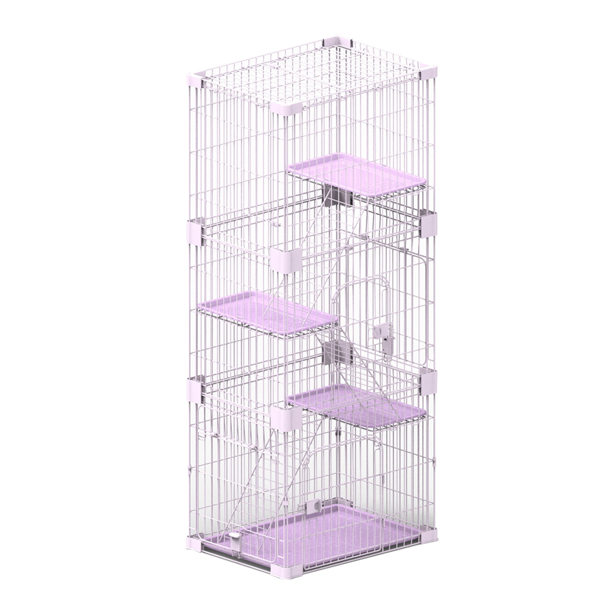 PetPals Wirehouse Three Levels Pink Cat Cage (SY-D008)