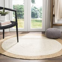 Safavieh Natural Fiber Coastal Geometric Hand-Woven Jute Ivory/ Natural Area Rug - 3' Round