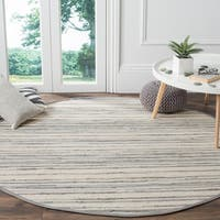 Safavieh Rag Rug Transitional Stripe Hand-Woven Cotton Ivory/ Grey Area Rug - 8' x 8' Round