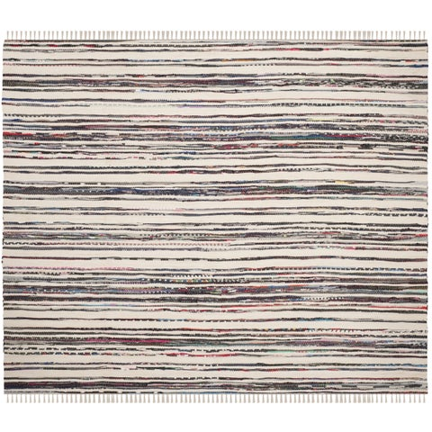 Safavieh Rag Rug Transitional Stripe Hand-Woven Cotton Ivory/ Charcoal Area Rug - 4' x 4' Square