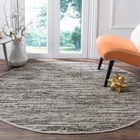 Safavieh Rag Rug Transitional Stripe Hand-Woven Cotton Grey Area Rug - 4' Round