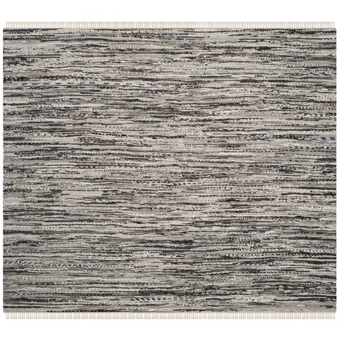 Safavieh Rag Rug Transitional Stripe Hand-Woven Cotton Grey Area Rug - 4' x 4' Square