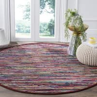 Safavieh Rag Rug Transitional Stripe Hand-Woven Cotton Multi Area Rug - 4' Round