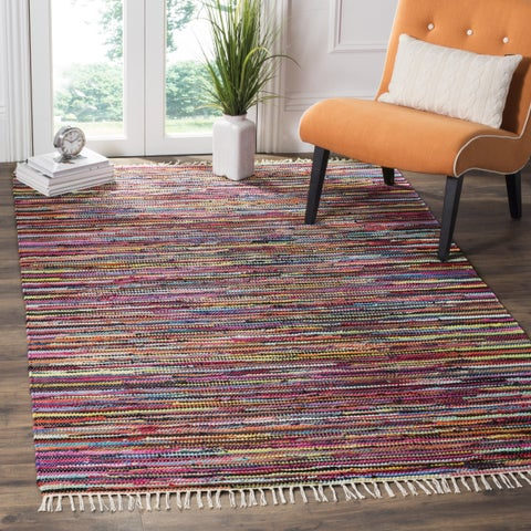 Safavieh Rag Rug Transitional Stripe Hand-Woven Cotton Multi Area Rug - 4' x 4' Square
