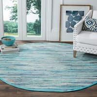 Safavieh Rag Rug Transitional Stripe Hand-Woven Cotton Turquoise/ Multi Area Rug - 4' Round