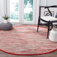Safavieh Rag Rug Transitional Stripe Hand-Woven Cotton Red/ Multi Area Rug - 4' Round