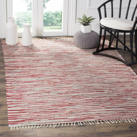Safavieh Rag Rug Transitional Stripe Hand-Woven Cotton Red/ Multi Area Rug - 4' x 4' Square