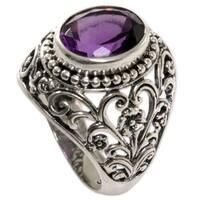 Handmade Sterling Silver 'Mystical Purple' Amethyst Ring (Indonesia)