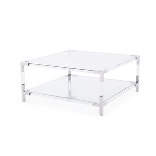 Havenhurst II Clear Acrylic, Glass, and Stainless Steel Accent Coffee Table